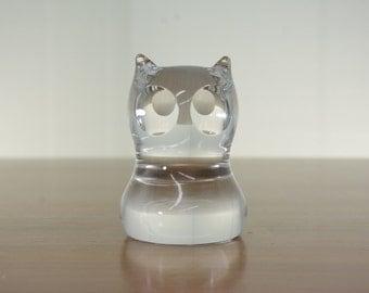 Spode Owl Clear Glass Paperweight Bird of Prey Kitsch Animal