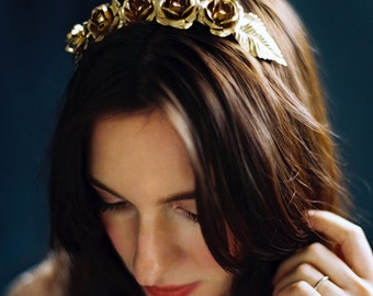 Floral Crown, Bridal Hair Wreath, Gold Headpiece, Large Rose Crown -Style 5216