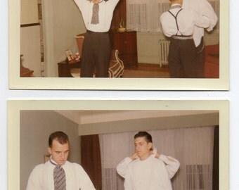 2 Photos Men Getting Dressed September 7 1967 Color Photographs Vintage Fashion Mid Century Modern Paper Ephemera