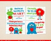 Monster Valentines Cards - Cute Boy Monsters - Personalized Valentines Cards - Classroom Valentines - Digital & Printed