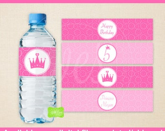Princess Water Bottle Labels - Printable Water Bottle Wraps -  Princess Bottle Labels - Emailed & Shipped Available