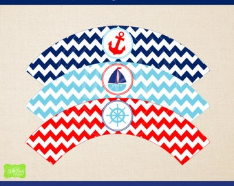 Nautical Cupcake Wrappers - Printable Cupcake Wrapper - DIY Cupcake Wrappers - Nautical Party Printables - Instant Download