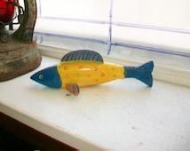 Vintage Fish Decoy Hand Carved Folk Art