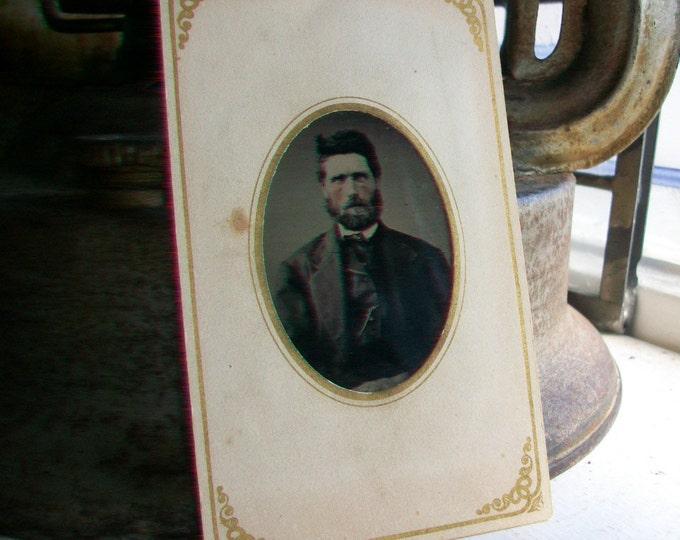 Antique Tin Type Photograph of a Man Circa 1850-1860s In Cartouche Card