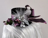Steampunk Mini Top Hat, Black satin with pink ribbon, purple flowers, white feather, silver leaves OOAK