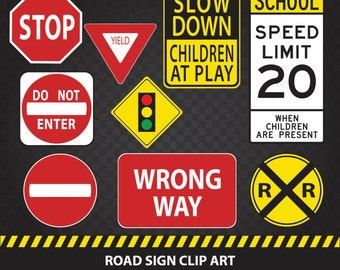 Road Sign Clip Art Deluxe Digital Variety 9 Pack - Commercial Use ok
