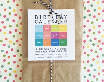 Colorful Birthday Calendar - Modern Birthday Calendar - Perpetual Calendar