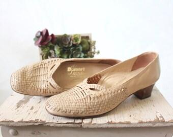 woven leather heels / european