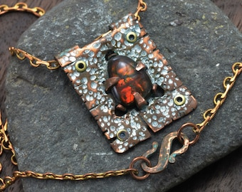 Rustic Patinated Copper Pendant with Ammolite