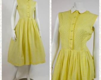 1950's Yellow Gingham Day Dress - 50's Lemon Yellow Sun Dress - Vintage Shirtwaist Dress - Yellow Gingham New Look Dress - Ladies Size 6