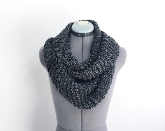 Black and White Specked Infinity Scarf