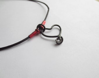 Black Bicycle Spoke Heart with Red Anodized Spoke Nipples Necklace , Upcycled Accessories , Recycled Bicycle Jewelry ,