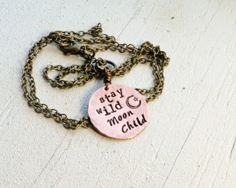 SALE Stay Wild Moon Child Copper Coin Necklace