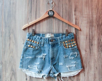 High waist vintage studded denim shorts Size 5/6 | Ripped distressed shorts | Gold studded shorts | Hipster shorts |  Festival shorts |