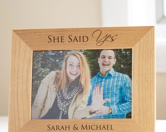 Personalized Engagement Picture Frame: Engagement Gift, Just Engaged Gift, She Said Yes Picture Frame, Custom Engagement Gift, SHIPS FAST