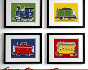 Train wall art - transportation wall art prints - boy's train art set of 4 childrens art prints, nursery art prints for boys