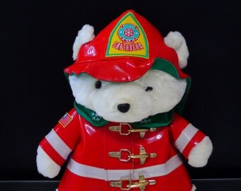 Firefighter Bear Fireman Plush Stuffed Animal 1996 Dayton Hudson Macys Holiday Collection