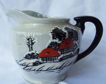 Vintage Japanese Creamer Pitcher Lusterware Snowy Landscape
