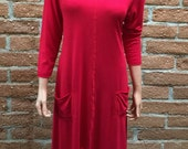 Asymmetrical pocket tunic / dress in red