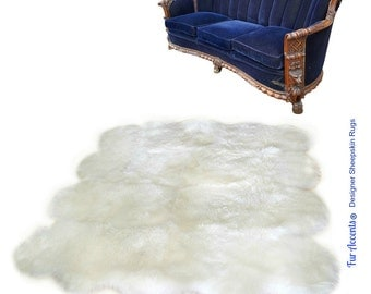 Faux Fur Sheepskin Rug - Octo Multi Pelt - Shaggy - Soft - Thick White - Off White - Shag - Fur Accents Designer Rugs and Throws USA