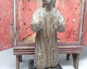 RESERVED LISTING for BRUCE---------1800's Kneeling Saint Magdalena Santos, Antique Hand Carved Praying Mary Magdalene Bulto