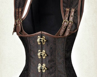 steampunk under bust corset  brown corset underbust corset