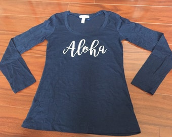 Aloha Tee Burnout Top Long Sleeve (Jrs/women)