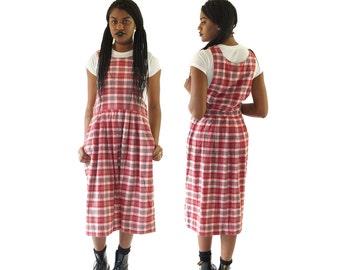 Plaid Flannel 90s Button-Down Schoolgirl Dress, 90s Grunge Uniform, Vintage Winter Maxi Dress, Women's Size Medium