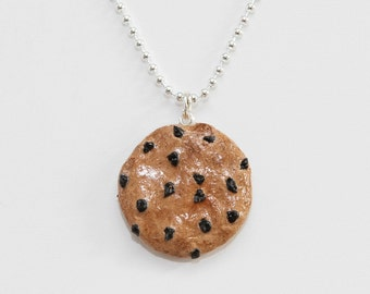 Chocolate Chip  Cookie Necklace-Kawaii-Polymer Clay-Birthday Gift-White Elephant Gift-Co Worker Gift-Christmas Gift-Chocolate Chip Cookie
