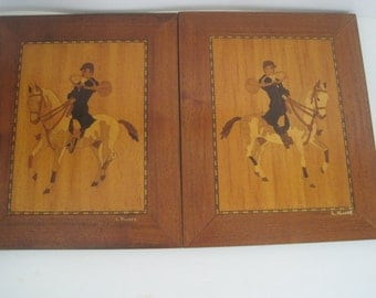 Pair of 2 Vintage Marquetry Wood Inlay Pictures / Plaques