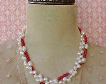 Beautiful Freshwater Pearl and Coral Necklace with 14K Gold