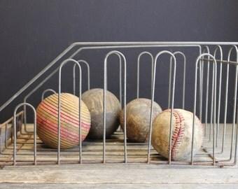 Vintage Old Metal Vegetable Bin // Storage Basket // Pantry Basket