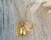 Gold Memorial Necklace with Cremation Urn Pendant and Angel Wing charm and name