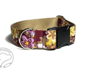"Vintage Blossoms Dog Collar // 1.5"" (38mm) Wide // Martingale or Quick Release // Choice of style and size // Mauve // Caramel // Maroon"