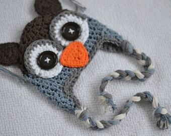 owl hat, baby hat, boys owl hat, crochet kids hat, crochet baby hat, crochet owl hat, baby boy hat