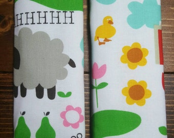 Reversible TODDLER Car Seat Strap Covers Michael Miller Farm Life on White with Opal Dimple Cuddle Minky Unisex Baby Accessories ITEM #044