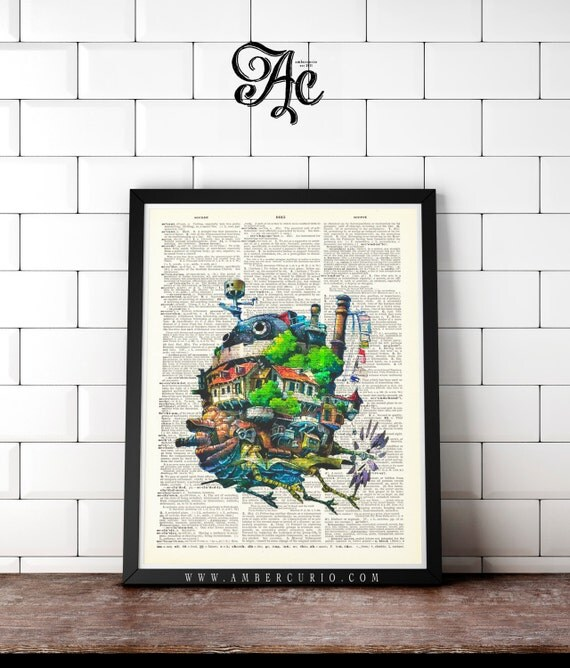 Howls Moving Castle Studio Ghibli Print on an Antique Unframed Upcycled Bookpage