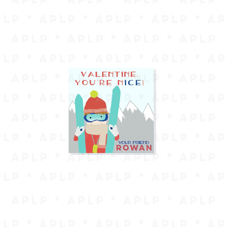 Skier Boy Valentines - Customized Downhill ski Valentine - Party Supplies