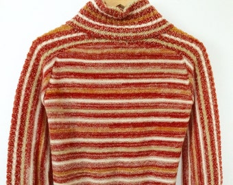 Vintage 70s Space Dye Rust Mustard Cream Striped Roll Down Turtle Neck Sweater Size S