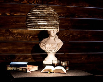 Handmade eco friendly lamp - Large Hemisphere - Lamp cardboard - Bar decoration - Recycled cardboard lamp