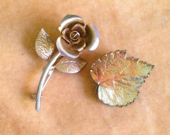Free Shipping: Vintage 60s Brooches / Golden Rose and Autumn Leaf