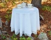 "Round White Lace Tablecloth 63"", Layering Linens Base Tablecloth"