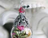 SPRING MELODY Victorian Cloche Dried Flower Necklace, Glass Vial Globe Necklace on High Quality Silver Chain, Ready to Ship