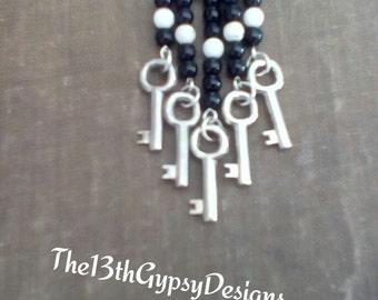 Boho Inspired Beaded Skeleton Key Necklace