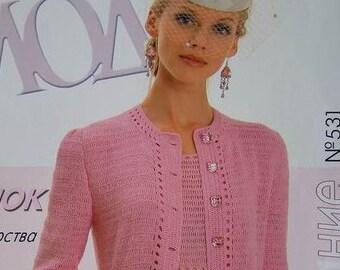 Crochet patterns Fashion Magazine, Zhurnal Mod No 531 jackets, Irish lace dress, top, skirt, cardigan