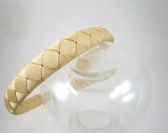 Toffee Headband - Light Tan Headband - Light Brown Headband - Plastic Headband - Ribbon Woven Headband - Child Teenager Adult Headband