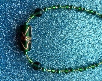 Dark Green Glass Seed Bead Necklace Goldstone Trail Crystal Glass and pearl Rocaille app 18 inch-Handmade Necklace-Gifts for women