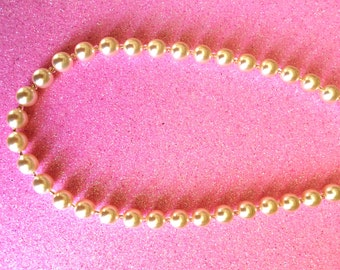 Pearl Necklace with Clear Gold colour Lined Glass Rocaille beads Bridal and Wedding Jewellery