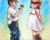 "kids wall art,  couple sweethearts, boy and girl, ""LOVE YOU"" Laurie Shanholtzer, Canvas or cotton art paper"