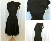 1950's Black Taffeta Cocktail Dress // XS // Formal // Party // Breakfast at Tiffany's
